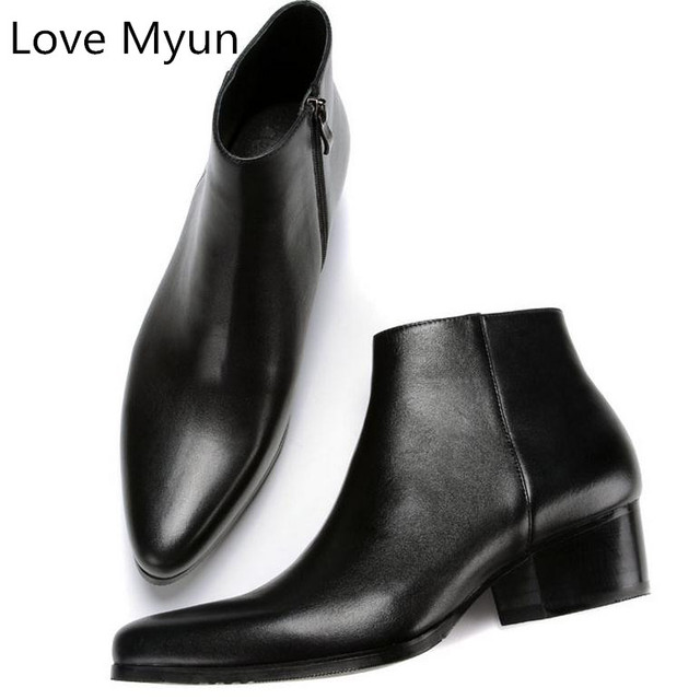 Autumn winter new mens genuine leather boots high heels fashion pointed toe zip ankle boots high top men shoes plus size 36 44