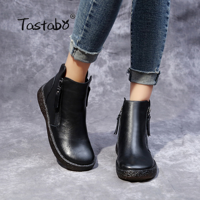 f1cffd54ed Tastabo Martin Boots Genuine Leather Ankle Boots Flat with Vintage Casual  Shoes Brand Design Retro Black Zipper Women Boots Lady