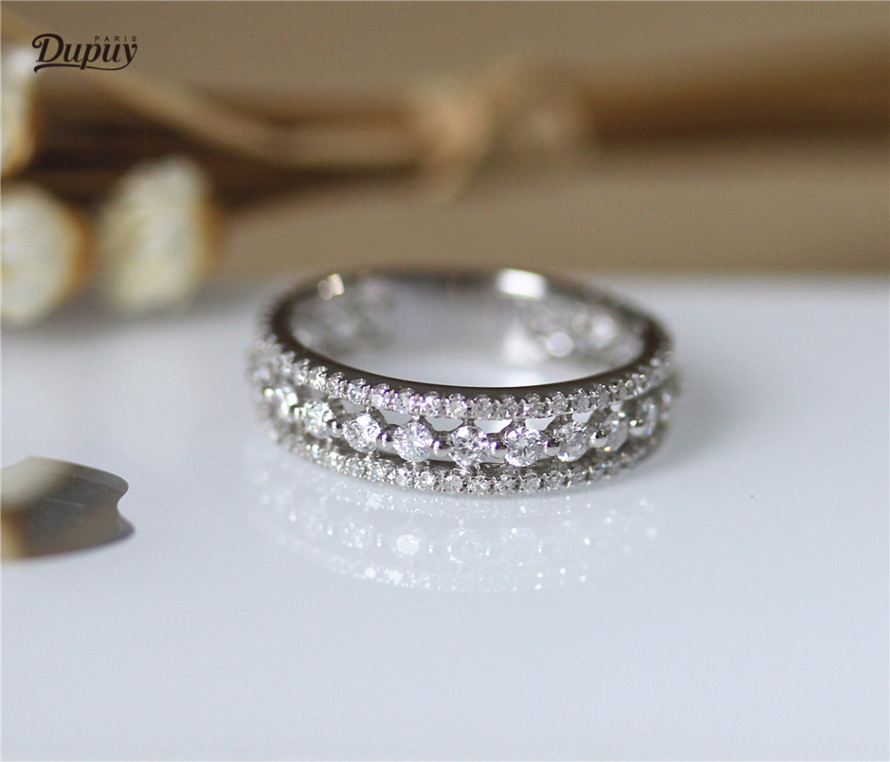 Dupuy Brilliant Eternity Conflict Free Natural Diamond Ring Stackable Wedding Band Solid 14k White Gold Bridal