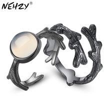 NEHZY-Anillo de Plata de Ley 925 para hombre y mujer, joyería con diseño de bosque, espinas, pareja en el anillo de rosa, anillo negro creativo