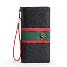 Women Designer Genuine Leather Long Wallet Famous Brands Bee