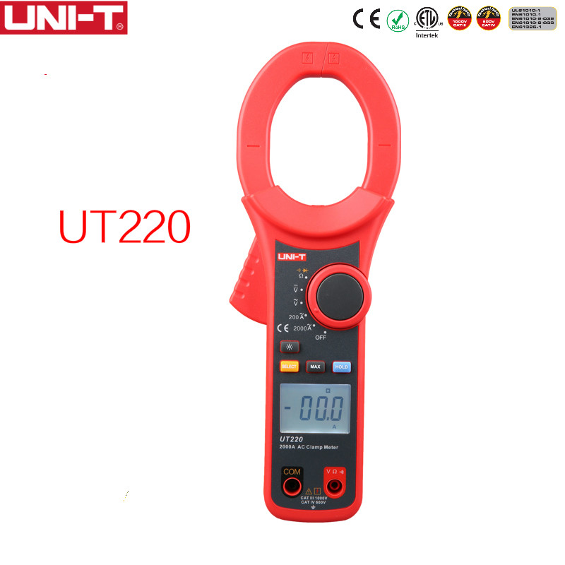 UNI-T UT220 2000A Digital Clamp Meters Measure Multimeters Auto Range Resistance цены