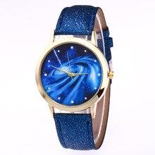 Moda Simples Pulseira de Couro Relógio De Pulso das Mulheres Relógios de Quartzo das Mulheres Relógio do Amante Reloj Mujer Grande Universo Criativo Presente