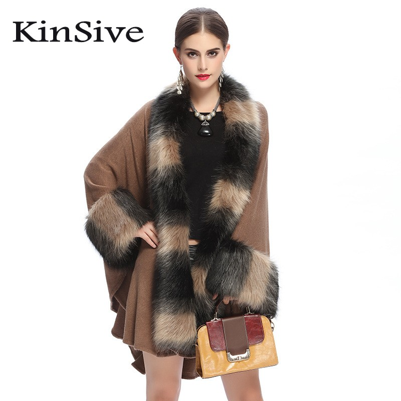 Luxury Faux Fur Knitted Shrug Sweater Women Autumn Winter Tricot Warm  Oversize Poncho Capes Long Cardigan