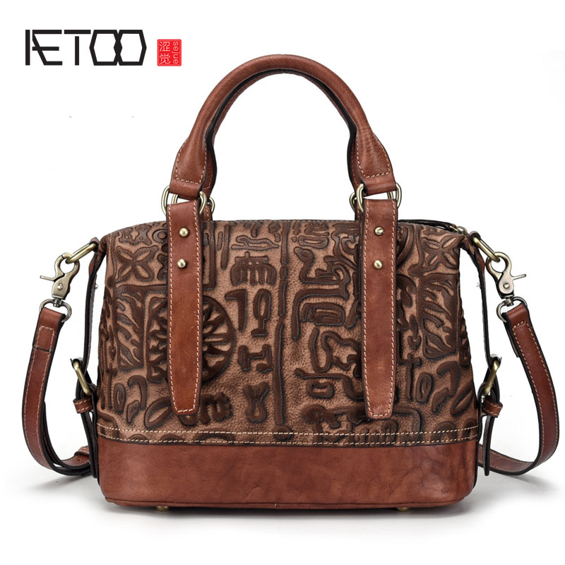 AETOO New leather female bag shoulder Messenger bag lady portable tree high leather casual female bag