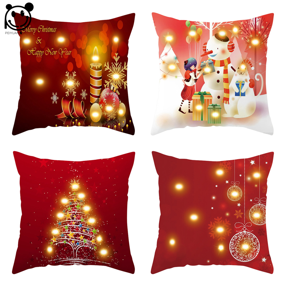 PEIYUAN Light Up Cushion Cover Led Merry Christmas Tree and Ornaments Glow Throw Led Light Pillow Case Super Sofa Pillow case