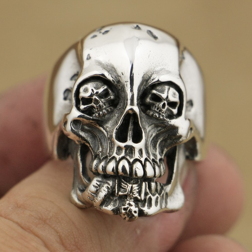 Handmade 925 Sterling Silver High Details Skull Mens Biker Rock Punk Ring TA76A