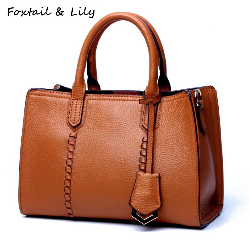 FoxTail & Lily Real Leather Shoulder Bag Women Handbags Genuine Leather Messenger Bags Luxury Designer Small Lady Crossbody Bag 2018 new luxury handbag women bag designer genuine leather bag women leather handbags small shoulder crossbody messenger bag