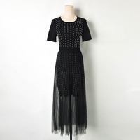 Spring Summer New Famous Woman dress knitted beading Stitching and Pleated Mesh Yarn Knitting dress top quality