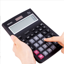 Deli 1PC 12 Digital LCD Display calculator solar and battery power multi functional solar office business type