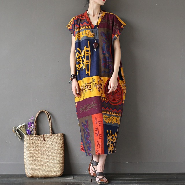 Totem Tribe Impressão Longos As Mulheres Se Vestem de manga Curta com decote em v Mais tamanho Solto Boho Verão Maxi Vestido Bohemian Boho Vestidos de Robe A077