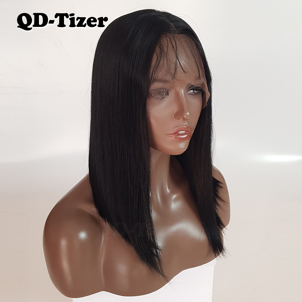 QD-Tizer Bob corto pelo Color Negro medio cabello Natural sin pegamento sintético  peluca delantera de encaje para las mujeres negras pelucas de cabello a53b8ab2a36b
