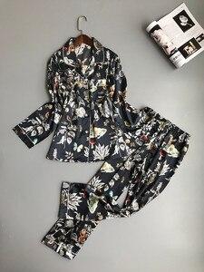 Image 5 - Lisacmvpnel Pijama con estampado de primavera para mujer, ropa de dormir de rayón, pantalones de manga larga, traje de dos papeles