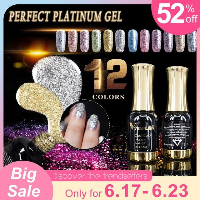 VENALISA Super Color Gel Paints Crystal Lacquer CANNI Nail Art Glitter Pearl Diamonds Soak off Platinum UV LED Gel Nail Polish