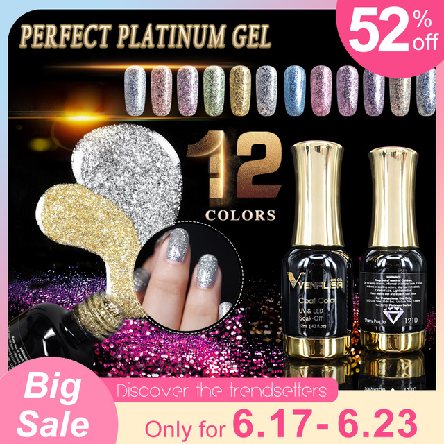 VENALISA Super Cor Tintas Gel Laca CANNI Nail Art Glitter Cristal Diamantes Pérola Soak off Platinum UV LEVOU Unhas de Gel polonês