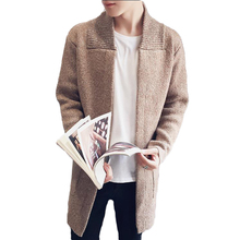 Hot Sell 2017 Middle length Men Solid Sweater Cardigan Trench Male Casual Autumn New Hot Design knitsweater