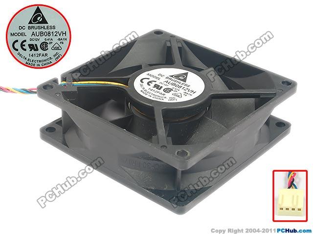 Delta Electronics AUB0812VH -BA1N Server Square Fan DC 12V 0.41A 80x80x25mm 4-wire