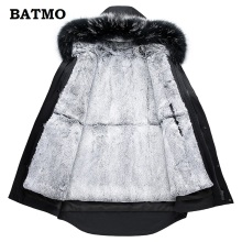 Batmo 2018 new arrival 100% natural rabbit liner hooded jacket men raccoon fur collar