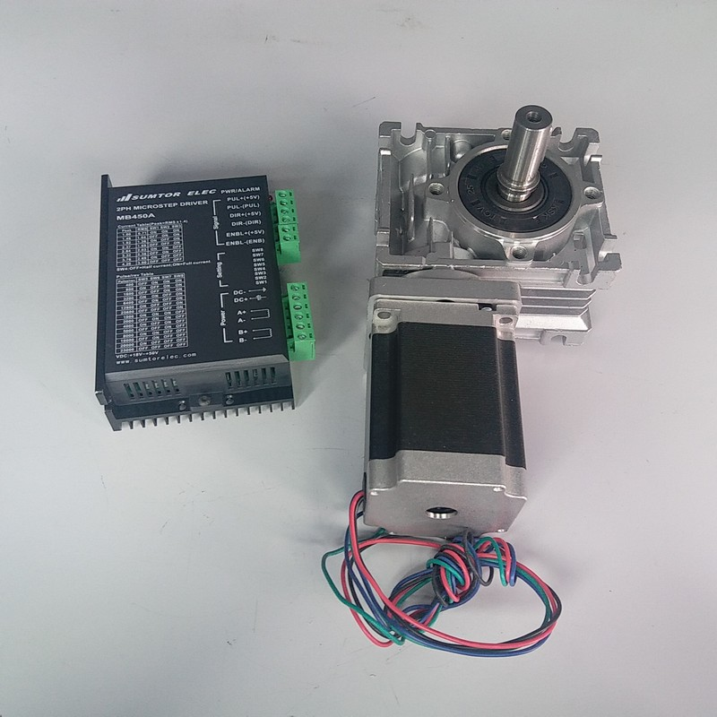 Worm Gearbox RV030 Speed Reducer 14mm output With Nema23 Stepper Motor driver kit 1.2NM 172Oz-in Convert 90degree For CNC RouterWorm Gearbox RV030 Speed Reducer 14mm output With Nema23 Stepper Motor driver kit 1.2NM 172Oz-in Convert 90degree For CNC Router