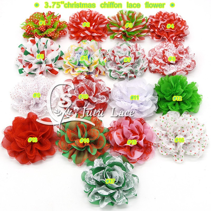 120 pcs/ lot , Christmas 3.75'' chiffon lace flower , shabby chiffon flower for headband apparel accessories