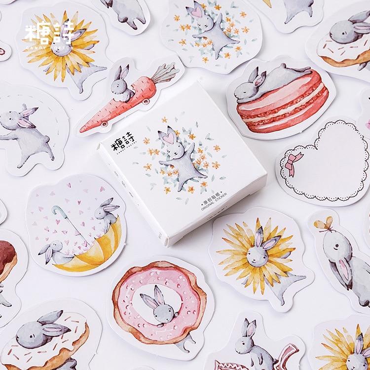 45 PCS/PACK Cute Rabbit DIY Scrapbooking Paper Adhesive Stickers Diary Planner Album Birthday Boxed Animals Decoration @TZ-70
