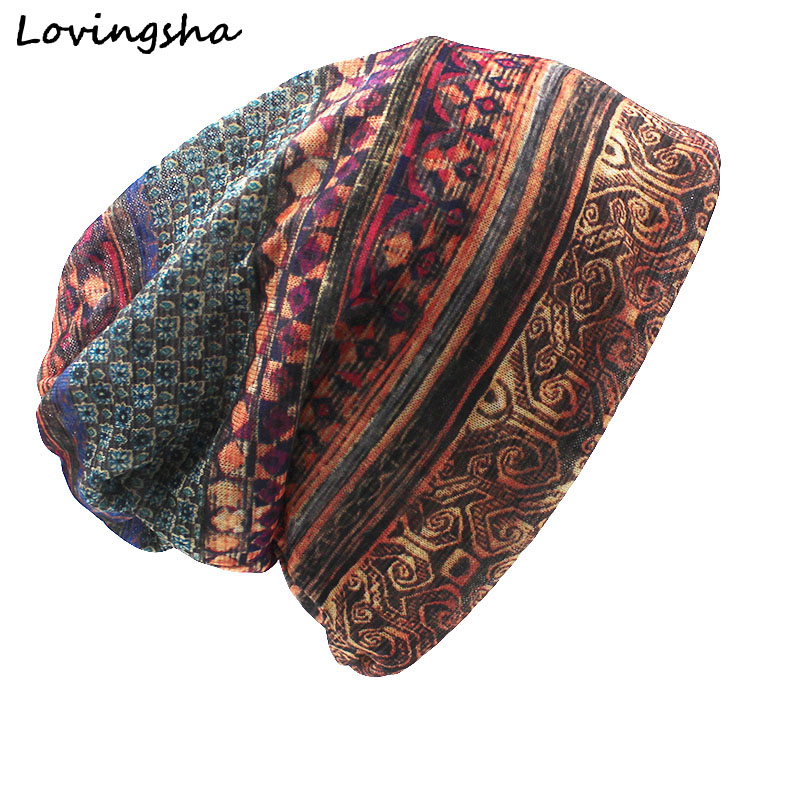 LOVINGSHA Merke Høst Og Vinter Dual-bruk Vintage Design Hatter For Ladies Tynn Skullies And Caps Women Scarf Face Mask HT015