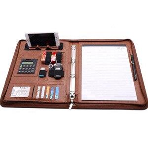 Image 4 - ファイルフォルダ A4 fichario リングバインダーケースドキュメント事務マネージャー padfolio ファイルキャビネットホルダージッパーブリーフケースバッグ