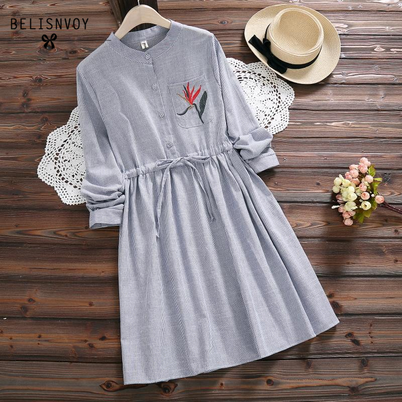 Robe Femme 2018 Spring Autumn Cotton Linen Women Blue Striped Vintage Dress Long Sleeve Drawstring Waist Embroidery Dresses