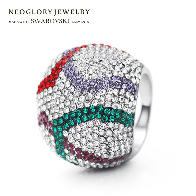 Neoglory MADE WITH SWAROVSKI ELEMENTS Rhinestone Party Colorful Rings For Women Romantic Fashion Shamballa Jewelry  New 2017