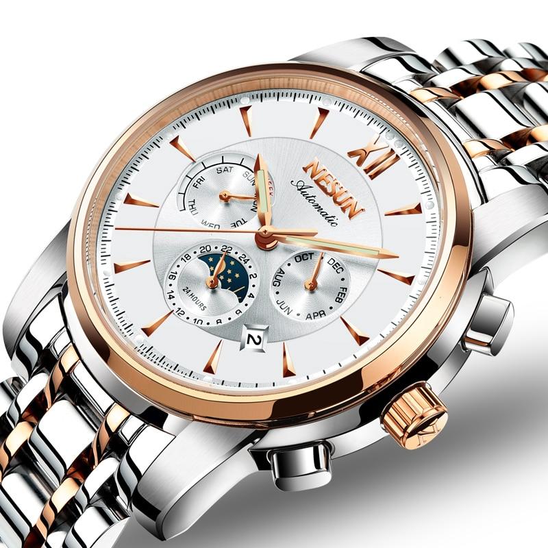Switzerland Luxury Brand NESUN Watch Men Automatic Mechanical Watches relogio masculino Luminous Multifunctional clock N9805-4 все цены