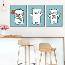 Wall Art Bear Baby Posters And Prints Canvas Painting Wall Art Child Room Decorative Picture Nordic Home Decoration No Frame(China)