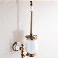 Luxury Bronze Bathroom Accessories Antique Finish Toilet Brush Set Creative Blue And WhiteToilet Bowl Toilet Cleaning