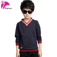2017 New Brand Boys Spring Shirts Fashion Children Solid Cotton Long Sleeves Clothing Active Casual V