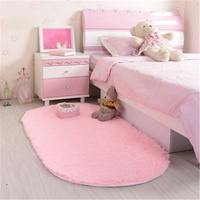 PanlongHome Modern Simple Style Oval Thickened Woolen Bedroom Bedside Rug Long Round Bed Carpet Floor Mat