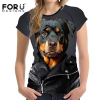 FORUDESIGNS Tops Tees T Shirt Women 3D Cool Black Retriever Prints Top Shirt Sleeve Tshirt Female