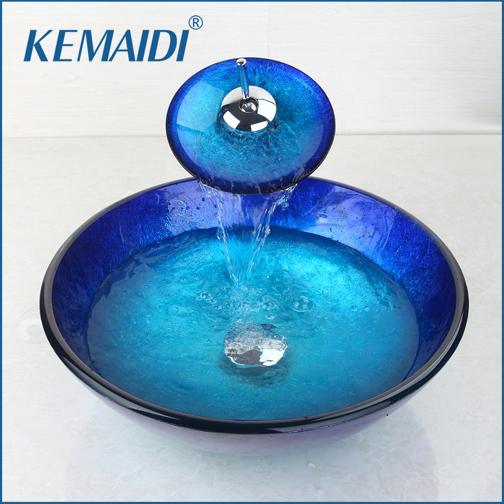KEMAIDI Bathroom Wash Combo Kit Tempered Glass Basin + Waterfall Soild Brass Faucet Hand Painted Sink Set with Pop Up Drain
