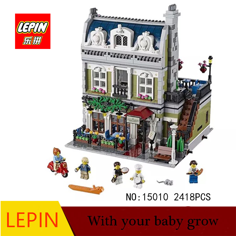 DHL LEPIN 15010 2418PCS City Street Parisian Restaurant Model Building Kit Assembling Blocks Bricks Compatible with legoed 10243 new lepin 15010 expert city street parisian restaurant model building kits blocks funny children toys compatible with 10243 gift