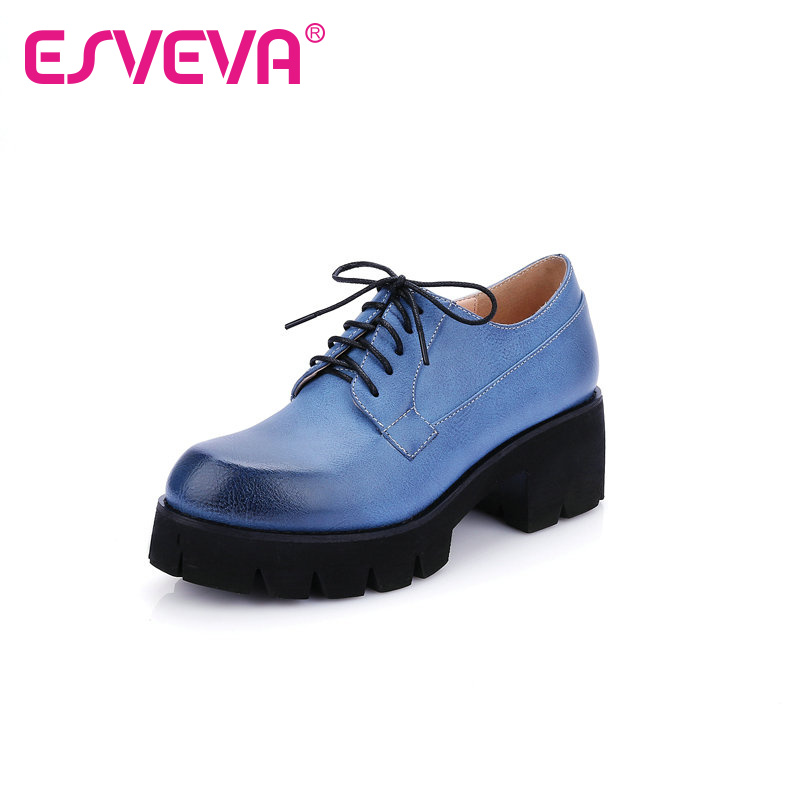 ФОТО ESVEVA Hot Sale Round Toe Women Pump Lace Up Pu Soft Leather Square High Heels Spring/Autumn Miss Party Shoe Size 34-39 Blue