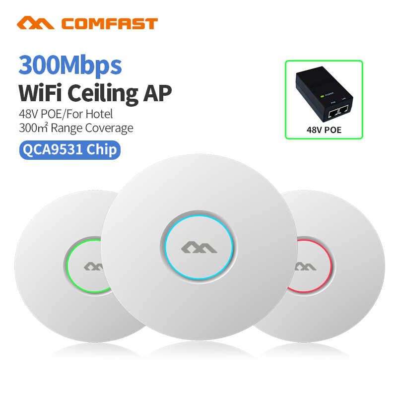COMFAST CF-E320V2 300M WIFI เพดาน Wireless AP 802.11b/g/n QCA9531 Enterprise WIFI ระบบ AP 48V POE เปิด DDWRT Access point AP