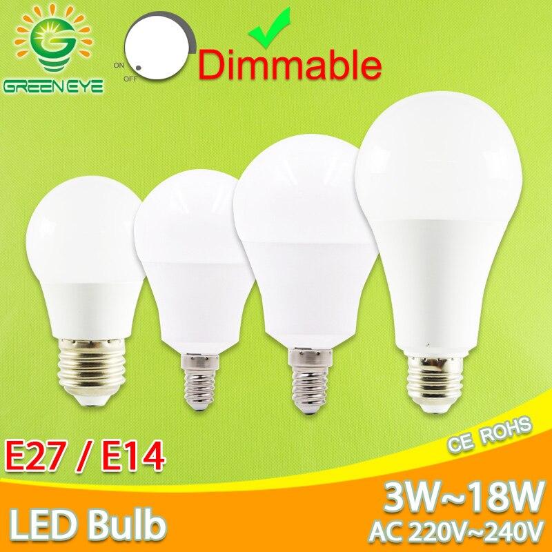 Led מנורת E27 E14 ניתן לעמעום led הנורה AC 220 v 240 v אמיתי 3 w 6 w 7 w 9 w 12 w 15 w 18 w lampara LED מנורת אלומיניום מנורת שולחן מנורות אור