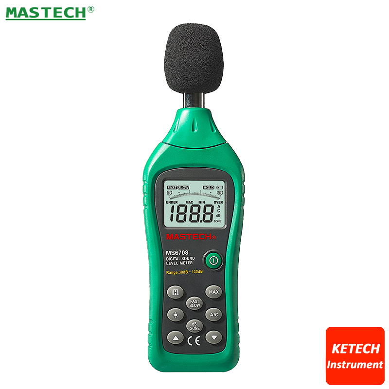 MS6708 Digital Sound Level Meter Digital Noise Meter Compact, Lightweight 30dB~130dB nktech nk s1 digital lcd sound meter noise level 30 130db freq 31 5hz 8khz test sound level meter noise meter vs ms6708