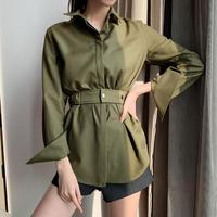 Long Sleeve Blouse Women Shirts 2019 Autumn Office Lady Sashes Solid Turn down Collar Women Blouses Elegant Women Tunic Tops