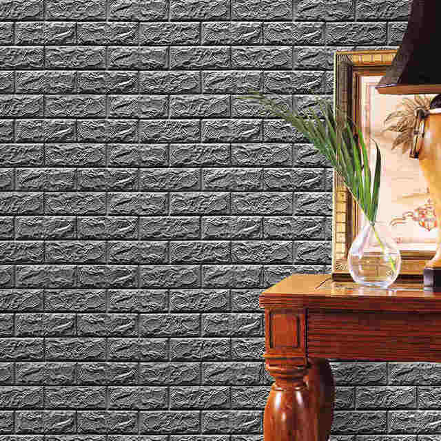 60*30cm 3D Brick Wall Stickers 3D Brick Stone Wallpaper DIY Wall ...