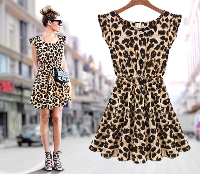 Frauen Beiläufige Kleid leopard druck Microfiber Draped Sleeveless ...