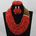 Choker Африканские Коралловые Бусы Комплект Ювелирных Изделий Нигерийские Бусы Ожерелья Заявление Ожерелье Африканские Бусы Ювелирные Изделия Бесплатная Доставка ABL409