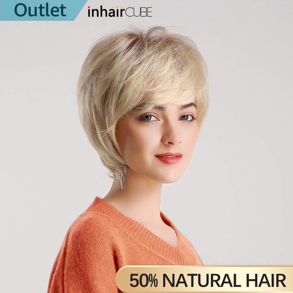 INHAIR CUBE 6 Inches Synthetic Blend Hair Natural Wave Short Wigs for Women Fluffy Ombre Blond Free Wig Cap blond