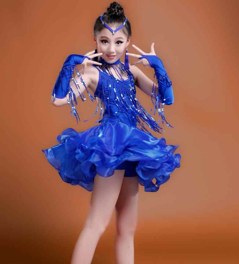 1f87bb19777d5 2019 Girls Blue Red Professional Latin dancing dress Kids Ballroom Salsa  Dance wear Outfits Children's Party Stage wear costumes