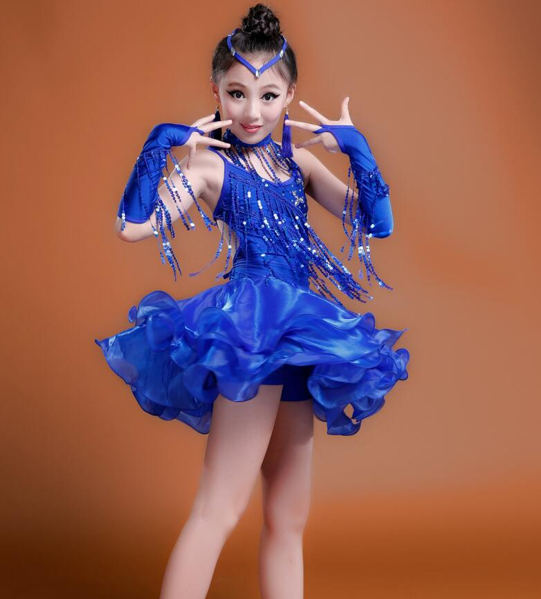 2019 Girls Blue Red Professional Latin dancing dress Kids Ballroom Salsa Dance wear Outfits Children's Party Stage wear costumes