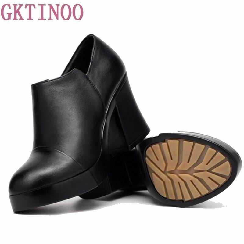 2020 kadın bahar ve sonbahar ayakkabı kalın yüksek topuklu moda kadın hakiki deri ayakkabı ilk katman dana platformu pompaları