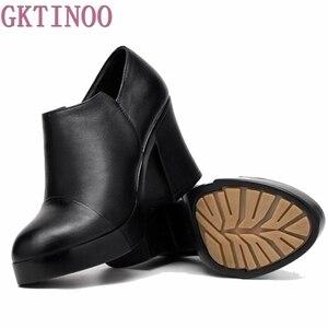 Image 5 - Zapatos de tacón alto grueso para mujer, zapatos de piel auténtica de primera capa de piel de vaca, con plataforma, para primavera y otoño, 2020